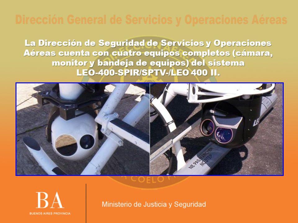 La Dirección de Seguridad de Servicios y Operaciones Aéreas cuenta con cuatro equipos completos (cámara, monitor y bandeja de equipos) del sistema LEO-400-SPIR/SPTV-/LEO 400 II.