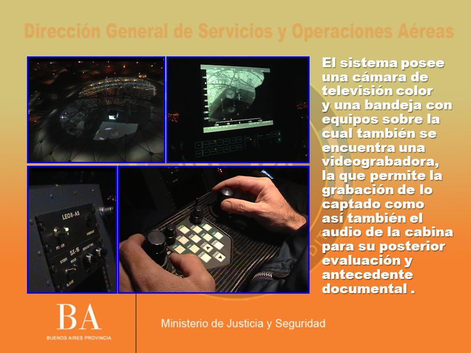 El sistema posee una cámara de televisión color y una bandeja con equipos sobre la cual también se encuentra una videograbadora, la que permite la grabación de lo captado como así también el audio de la cabina para su posterior evaluación y antecedente documental.