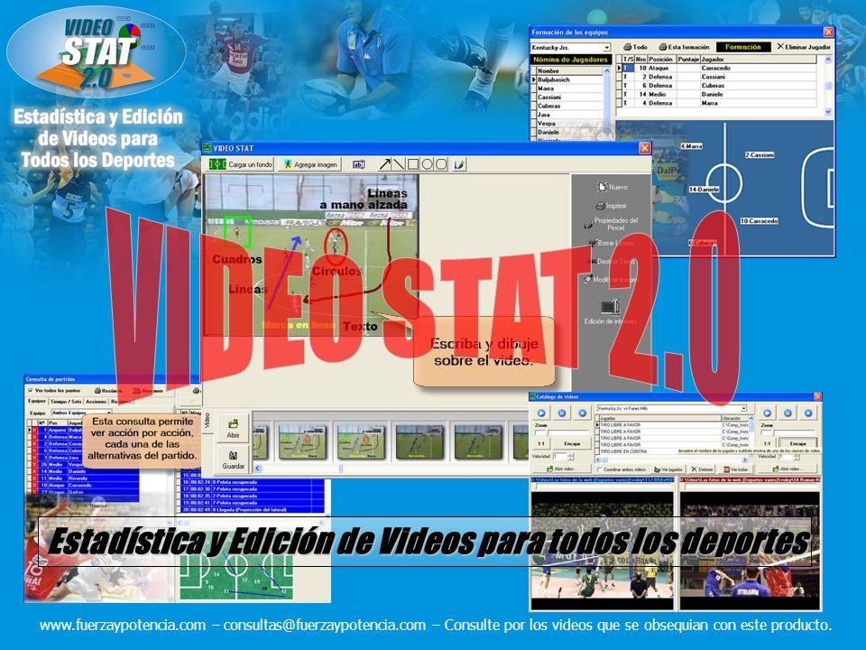 Estadística y Edición de Videos para todos los deportes www.fuerzaypotencia.com – consultas@fuerzaypotencia.com – Consulte por los videos que se obsequian con este producto.