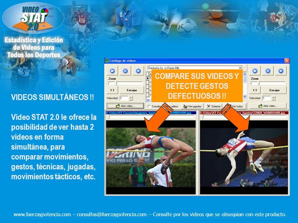 VIDEOS SIMULTÁNEOS !! Video STAT 2.0 le ofrece la posibilidad de ver hasta 2 videos en forma simultánea, para comparar movimientos, gestos, técnicas,