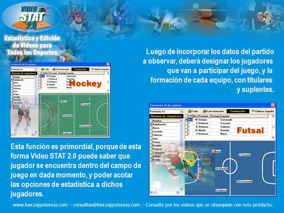 Luego de incorporar los datos del partido a observar, deberá designar los jugadores que van a participar del juego, y la formación de cada equipo, con titulares y suplentes.