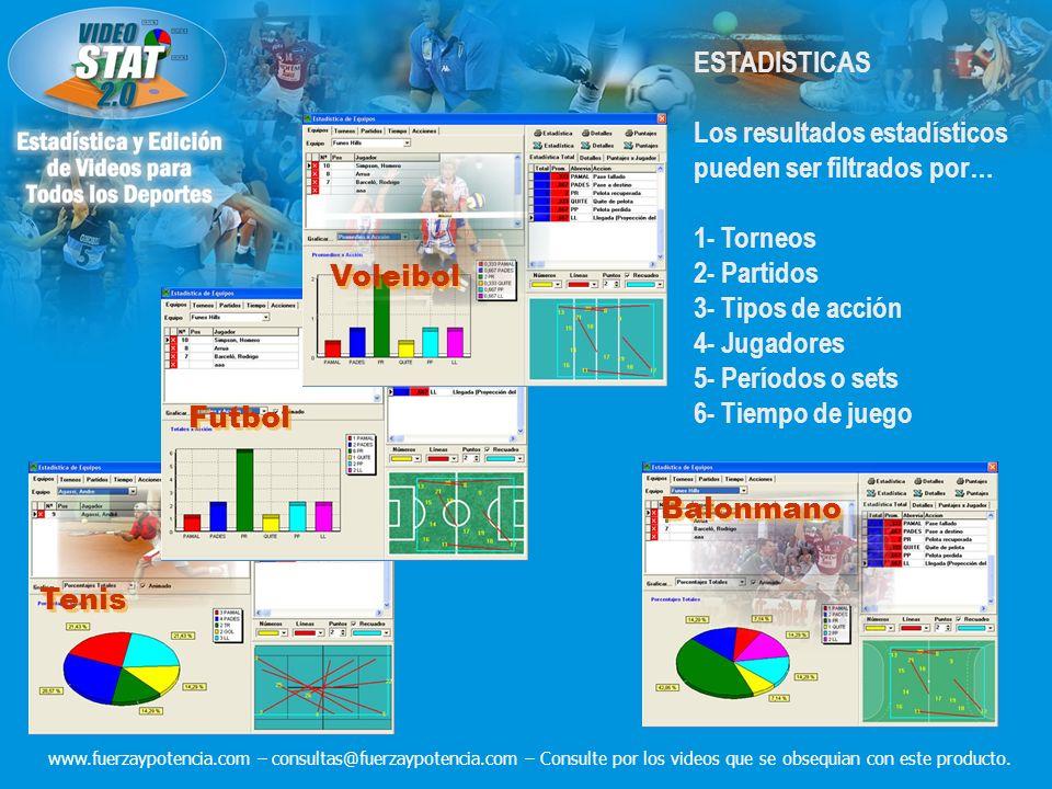 ESTADISTICAS Los resultados estadísticos pueden ser filtrados por… 1- Torneos 2- Partidos 3- Tipos de acción 4- Jugadores 5- Períodos o sets 6- Tiempo