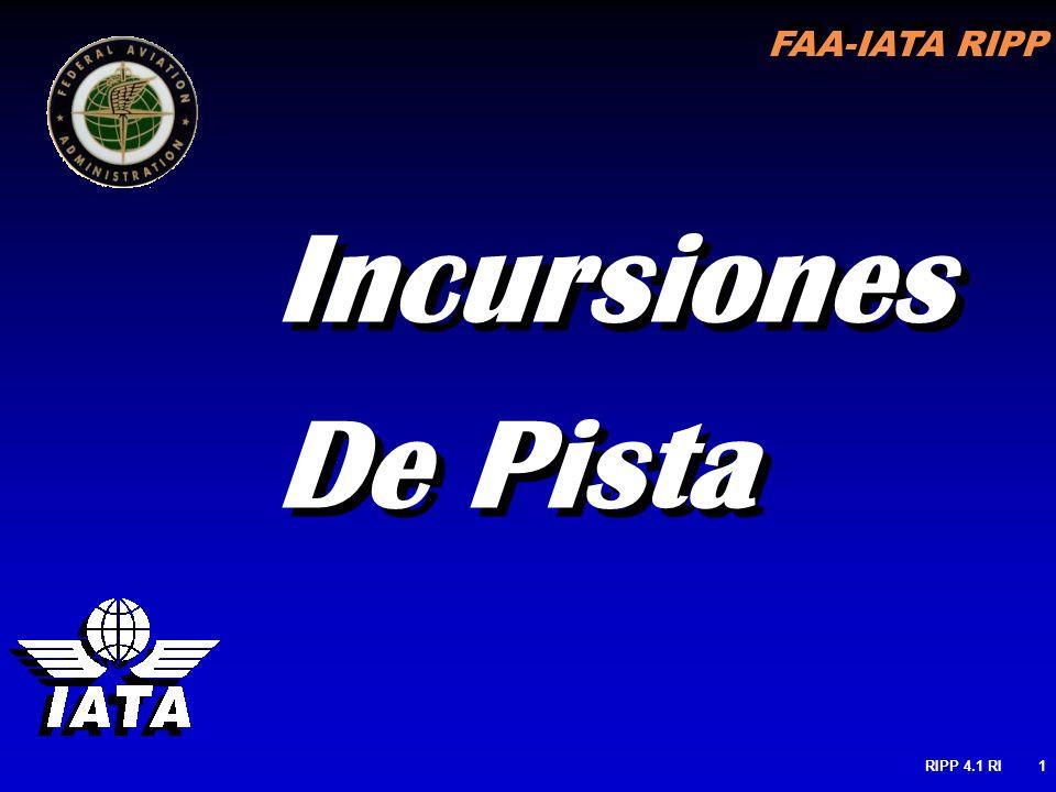 FAA-IATA RIPP RIPP 4.1 RI12 DEFINICIONES ICAO DE RI Cualquier ocurrencia en un aeródromo involucrando la presencia incorrecta de una Aeronave, vehículo or persona en el área protegida de una superficie designada para el aterrizaje y despegue de las Aeronaves Cualquier ocurrencia en un aeródromo involucrando la presencia incorrecta de una Aeronave, vehículo or persona en el área protegida de una superficie designada para el aterrizaje y despegue de las Aeronaves