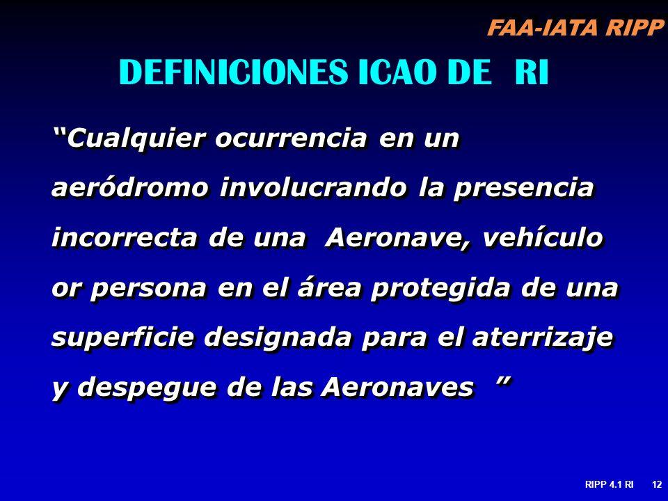 FAA-IATA RIPP RIPP 4.1 RI12 DEFINICIONES ICAO DE RI Cualquier ocurrencia en un aeródromo involucrando la presencia incorrecta de una Aeronave, vehícul