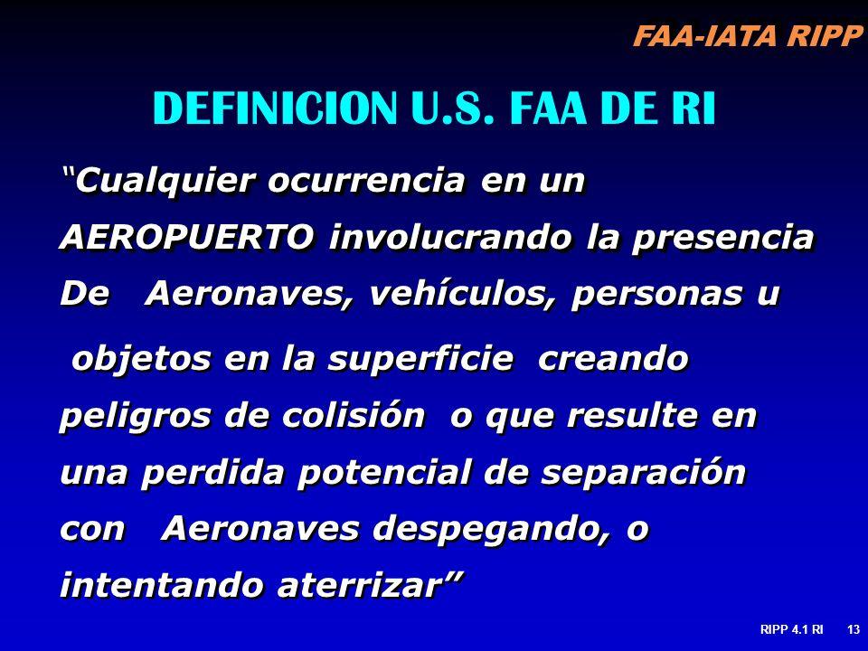 FAA-IATA RIPP RIPP 4.1 RI13 DEFINICION U.S. FAA DE RI Cualquier ocurrencia en un AEROPUERTO involucrando la presenciaCualquier ocurrencia en un AEROPU