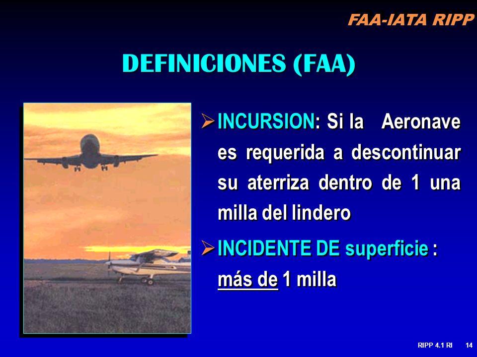 FAA-IATA RIPP RIPP 4.1 RI14 DEFINICIONES (FAA) INCURSION: Si la Aeronave es requerida a descontinuar su aterriza dentro de 1 una milla del lindero INC