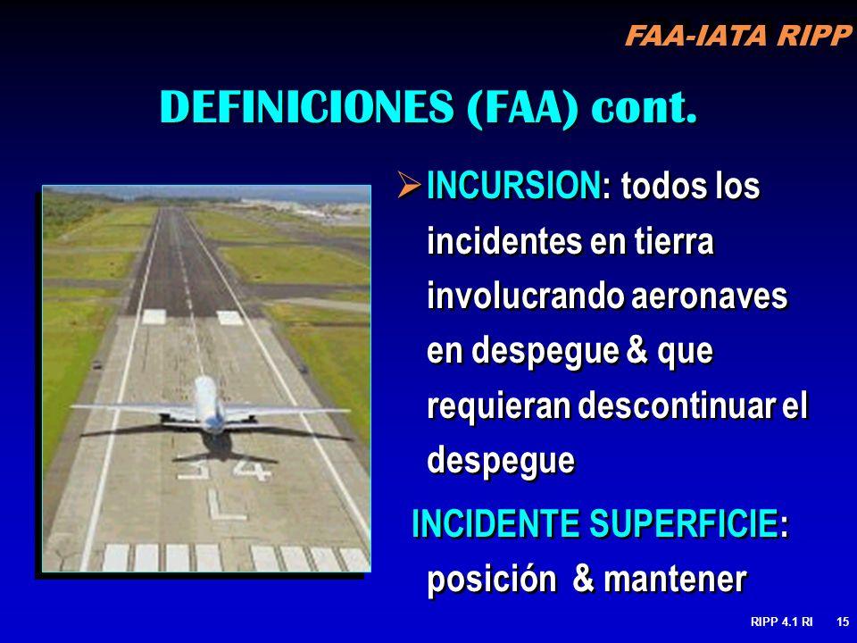 FAA-IATA RIPP RIPP 4.1 RI15 INCURSION: todos los incidentes en tierra involucrando aeronaves en despegue & que requieran descontinuar el despegue INCIDENTE SUPERFICIE: posición & mantener INCURSION: todos los incidentes en tierra involucrando aeronaves en despegue & que requieran descontinuar el despegue INCIDENTE SUPERFICIE: posición & mantener DEFINICIONES (FAA) cont.