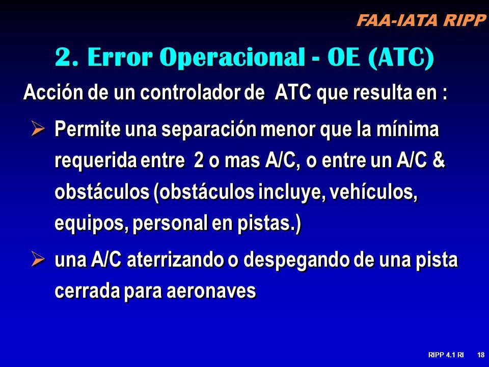 FAA-IATA RIPP RIPP 4.1 RI18 2. Error Operacional - OE (ATC) Acción de un controlador de ATC que resulta en : Permite una separación menor que la mínim