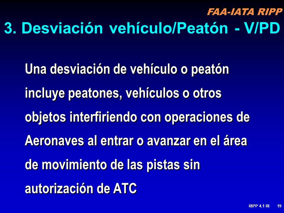 FAA-IATA RIPP RIPP 4.1 RI19 3. Desviación vehículo/Peatón - V/PD Una desviación de vehículo o peatón incluye peatones, vehículos o otros objetos inter