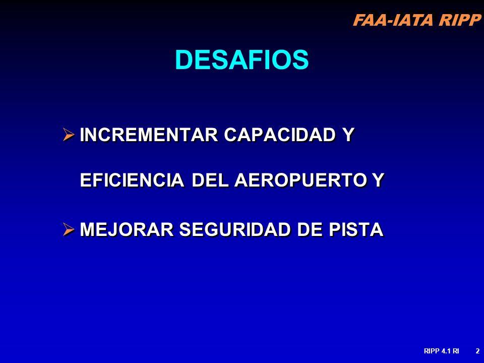 FAA-IATA RIPP RIPP 4.1 RI2 DESAFIOS INCREMENTAR CAPACIDAD Y EFICIENCIA DEL AEROPUERTO Y MEJORAR SEGURIDAD DE PISTA INCREMENTAR CAPACIDAD Y EFICIENCIA
