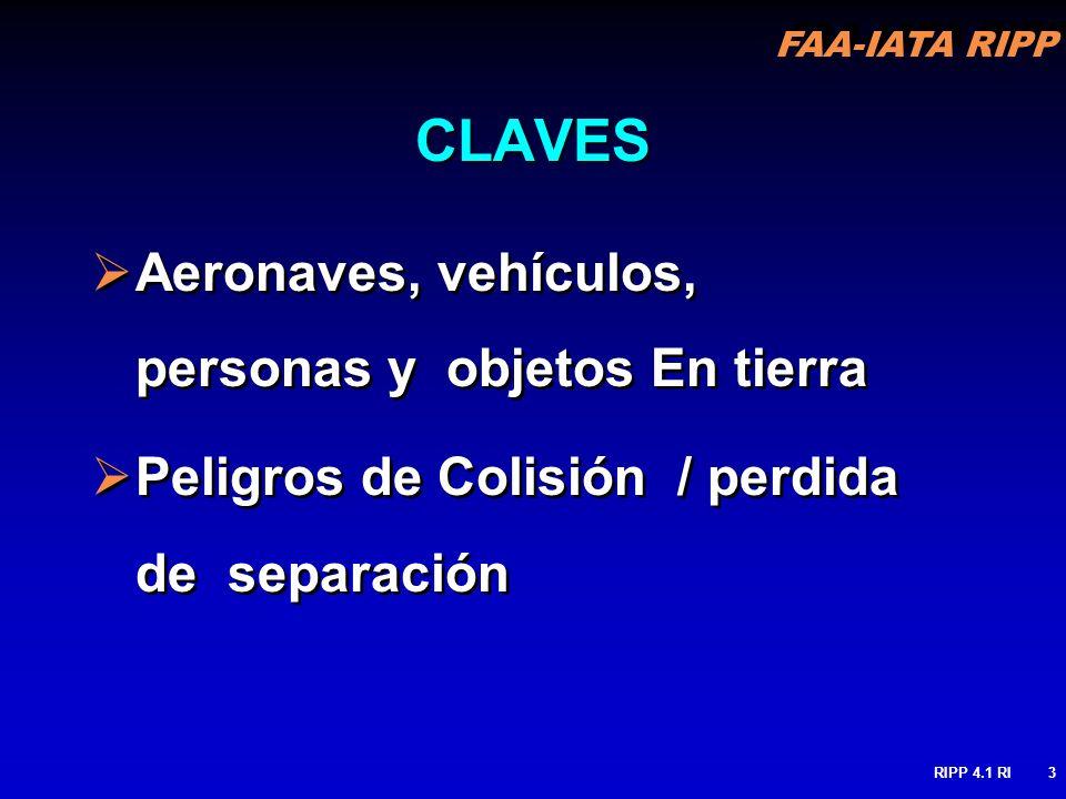 FAA-IATA RIPP RIPP 4.1 RI3 CLAVES Aeronaves, vehículos, personas y objetos En tierra Peligros de Colisión / perdida de separación Aeronaves, vehículos