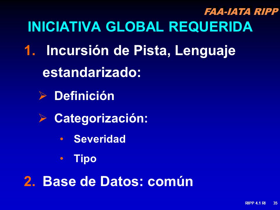 FAA-IATA RIPP RIPP 4.1 RI35 INICIATIVA GLOBAL REQUERIDA 1. Incursión de Pista, Lenguaje estandarizado: Definición Categorización: Severidad Tipo 2.Bas