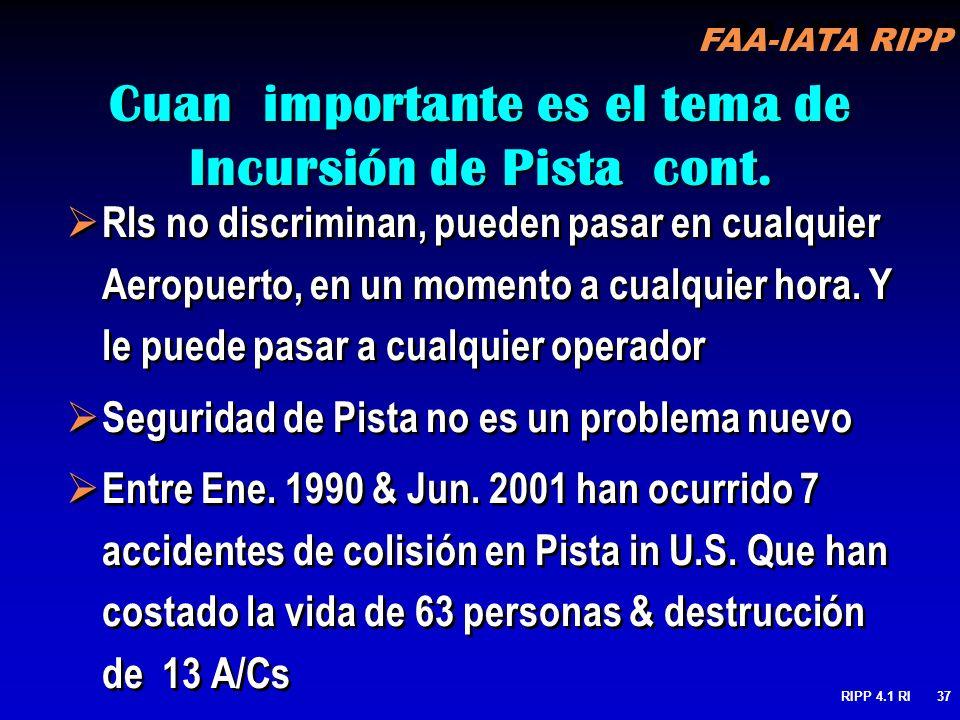 FAA-IATA RIPP RIPP 4.1 RI37 Cuan importante es el tema de Incursión de Pista cont. RIs no discriminan, pueden pasar en cualquier Aeropuerto, en un mom