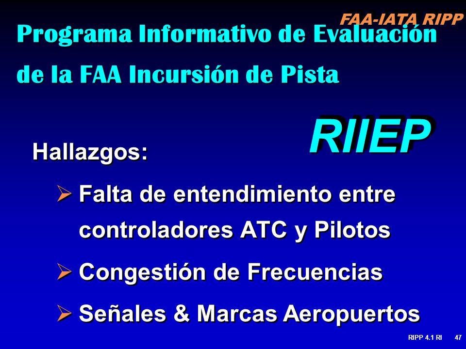 FAA-IATA RIPP RIPP 4.1 RI47 Programa Informativo de Evaluación de la FAA Incursión de Pista Hallazgos: Falta de entendimiento entre controladores ATC