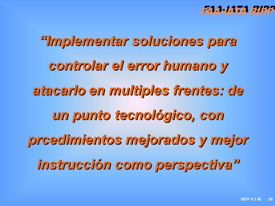 FAA-IATA RIPP RIPP 4.1 RI59 Implementar soluciones para controlar el error humano y atacarlo en multiples frentes: de un punto tecnológico, con prcedi