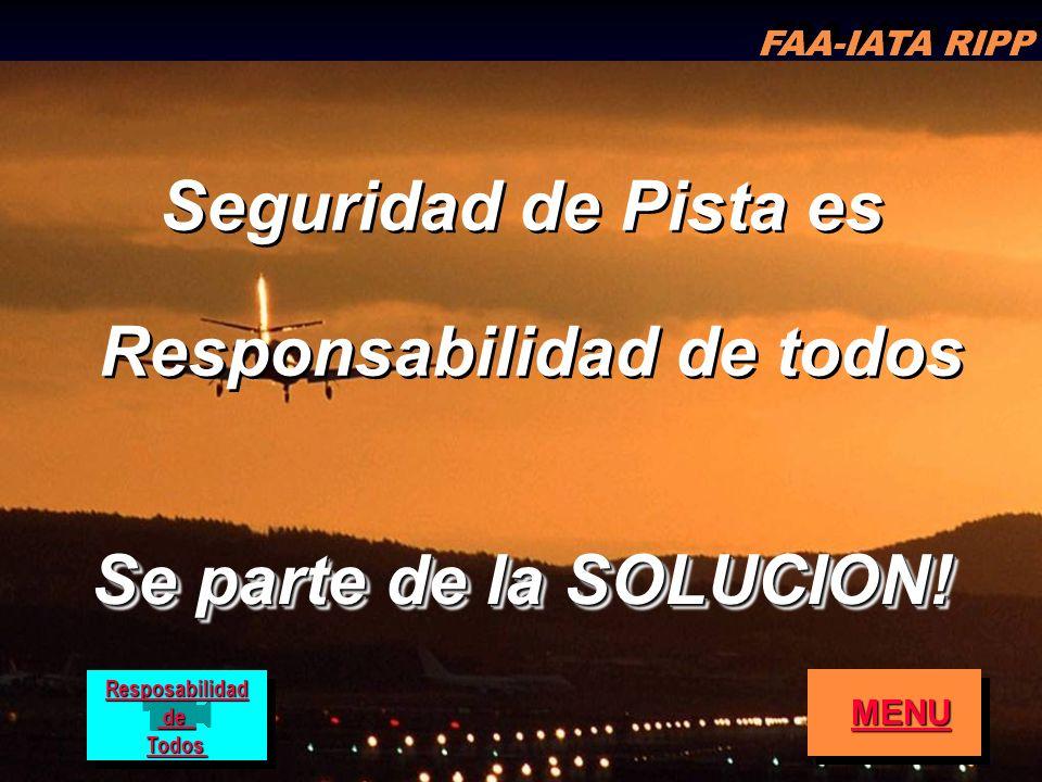 FAA-IATA RIPP RIPP 4.1 RI64 Seguridad de Pista es Responsabilidad de todos Seguridad de Pista es Responsabilidad de todos Se parte de la SOLUCION! FAA