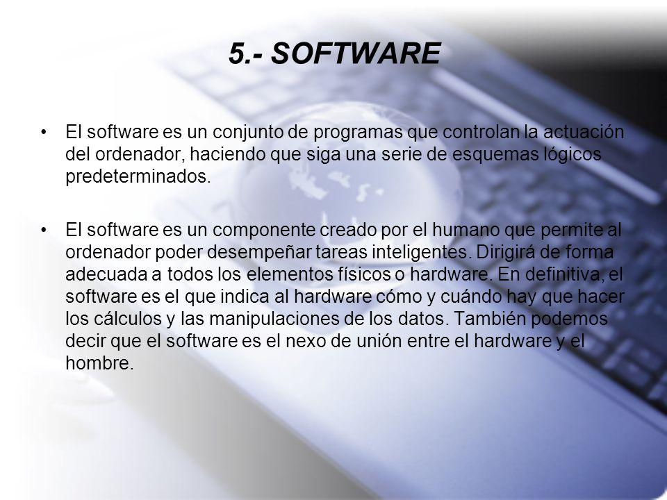 5.- SOFTWARE El software es un conjunto de programas que controlan la actuación del ordenador, haciendo que siga una serie de esquemas lógicos predete