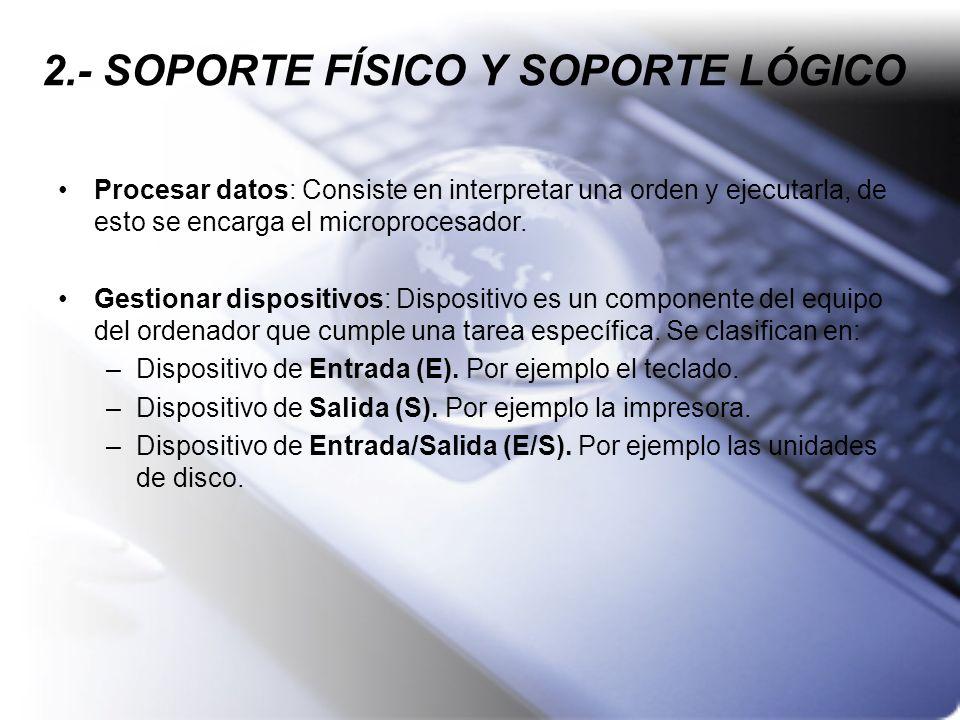 2.- SOPORTE FÍSICO Y SOPORTE LÓGICO Procesar datos: Consiste en interpretar una orden y ejecutarla, de esto se encarga el microprocesador. Gestionar d