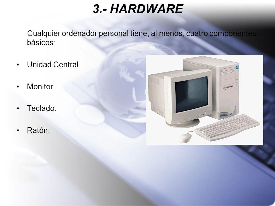 3.- HARDWARE Cualquier ordenador personal tiene, al menos, cuatro componentes básicos: Unidad Central. Monitor. Teclado. Ratón.