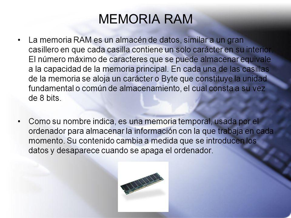 MEMORIA RAM La memoria RAM es un almacén de datos, similar a un gran casillero en que cada casilla contiene un solo carácter en su interior. El número