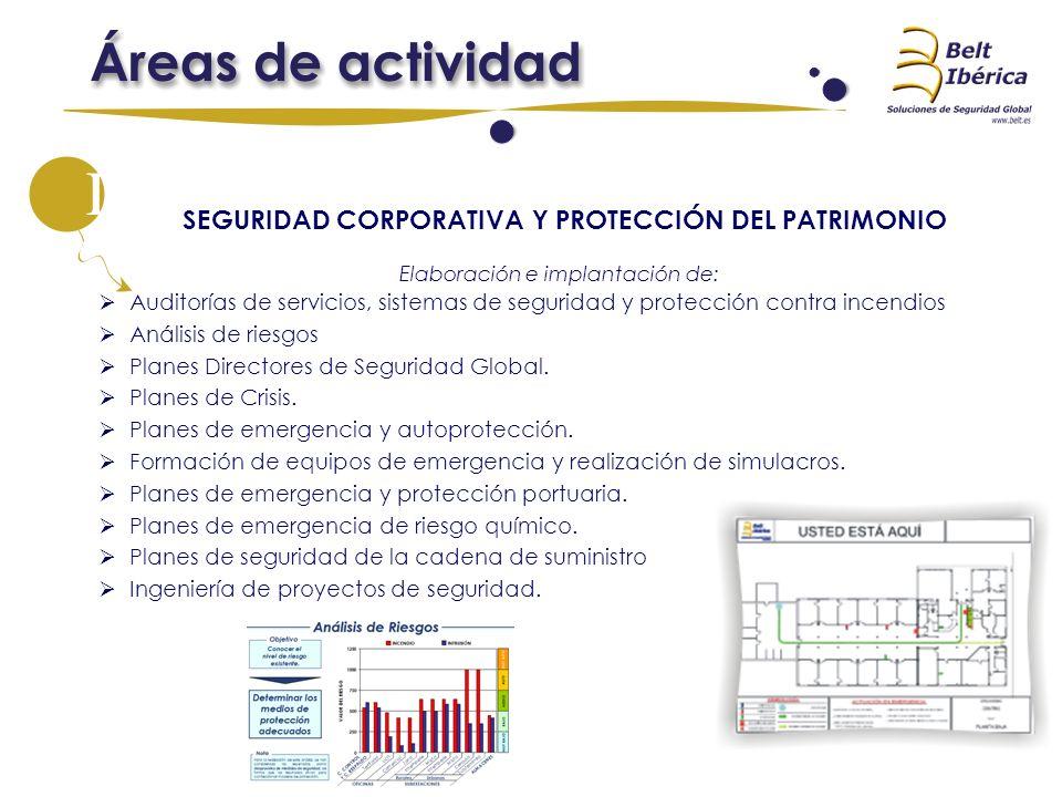 SEGURIDAD CORPORATIVA Y PROTECCIÓN DEL PATRIMONIO Elaboración e implantación de: Auditorías de servicios, sistemas de seguridad y protección contra in
