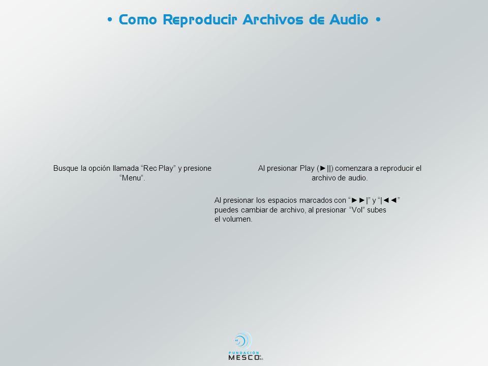 Busque la opción llamada Rec Play y presione Menu. Al presionar Play (||) comenzara a reproducir el archivo de audio. Al presionar los espacios marcad