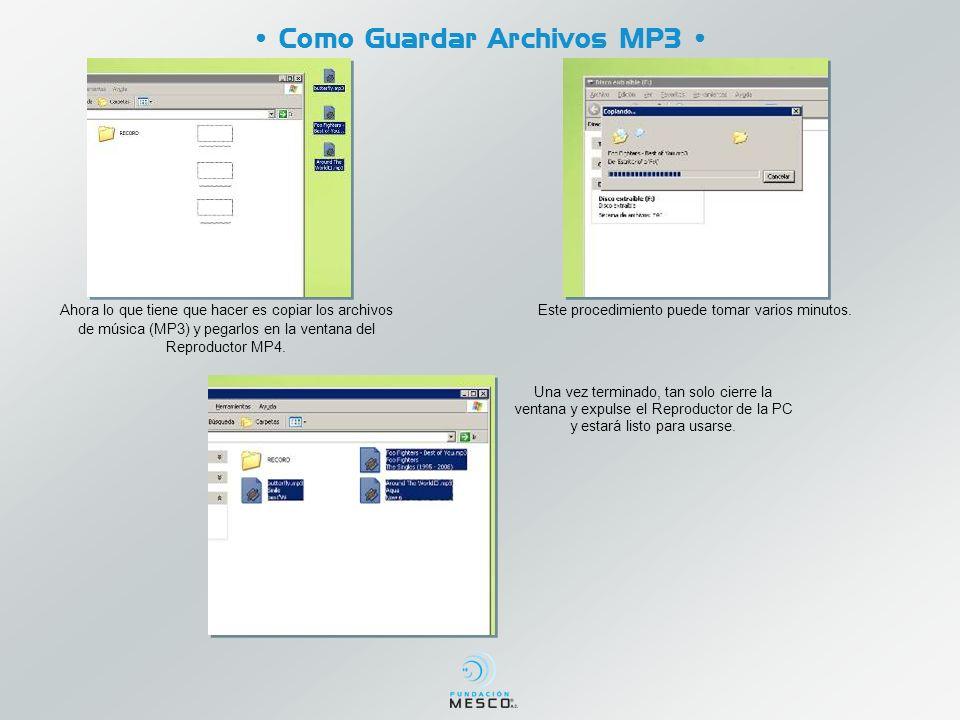 Como Guardar Archivos MP3 Ahora lo que tiene que hacer es copiar los archivos de música (MP3) y pegarlos en la ventana del Reproductor MP4.