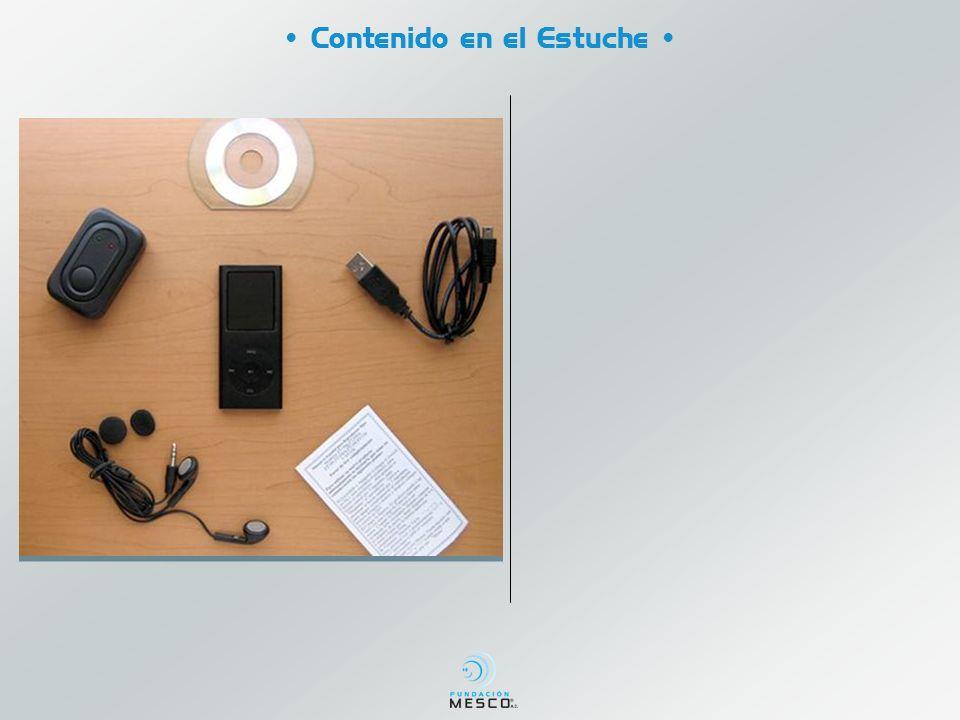 Contenido en el Estuche Reproductor Digital MP4 Cargador Audífonos Cable USB Disco instalación Instructivo