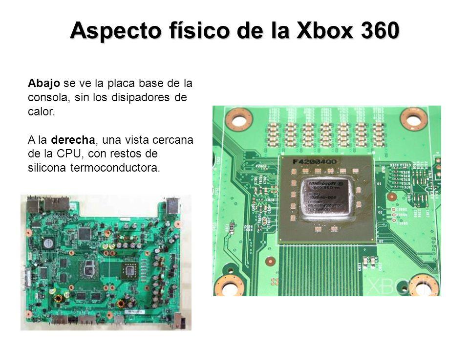 Aspecto físico de la Xbox 360 Abajo se ve la placa base de la consola, sin los disipadores de calor. A la derecha, una vista cercana de la CPU, con re