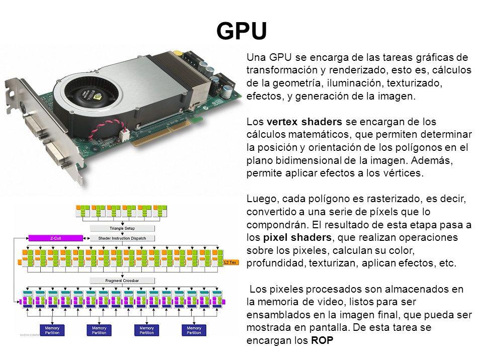 GPU Una GPU se encarga de las tareas gráficas de transformación y renderizado, esto es, cálculos de la geometría, iluminación, texturizado, efectos, y