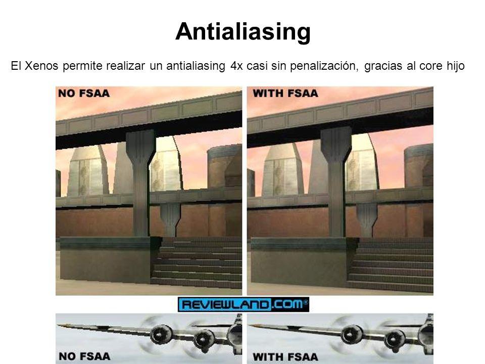 Antialiasing El Xenos permite realizar un antialiasing 4x casi sin penalización, gracias al core hijo