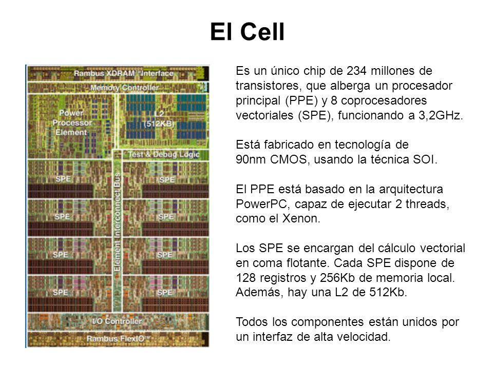 El Cell Es un único chip de 234 millones de transistores, que alberga un procesador principal (PPE) y 8 coprocesadores vectoriales (SPE), funcionando