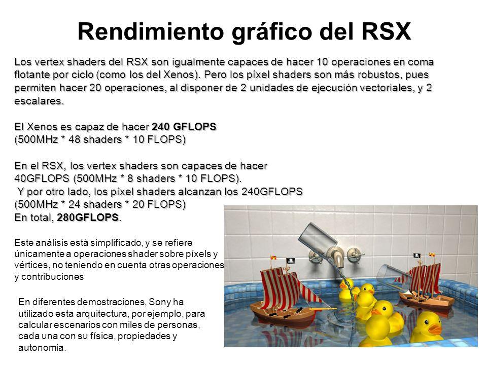 Rendimiento gráfico del RSX Los vertex shaders del RSX son igualmente capaces de hacer 10 operaciones en coma flotante por ciclo (como los del Xenos).