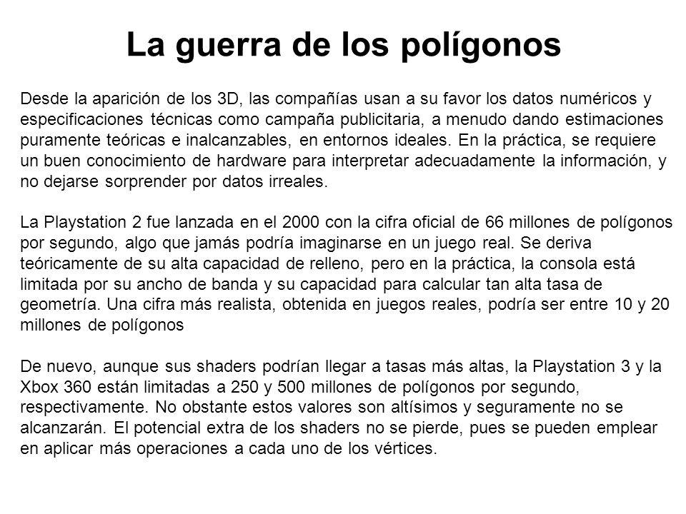 La guerra de los polígonos Desde la aparición de los 3D, las compañías usan a su favor los datos numéricos y especificaciones técnicas como campaña pu