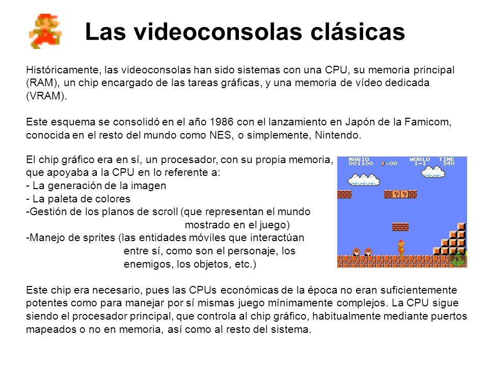 Las videoconsolas clásicas Históricamente, las videoconsolas han sido sistemas con una CPU, su memoria principal (RAM), un chip encargado de las tarea