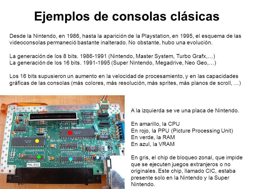 Ejemplos de consolas clásicas A la izquierda se ve una placa de Nintendo. En amarillo, la CPU En rojo, la PPU (Picture Processing Unit) En verde, la R