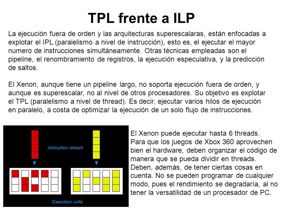 TPL frente a ILP La ejecución fuera de orden y las arquitecturas superescalaras, están enfocadas a explotar el IPL (paralelismo a nivel de instrucción