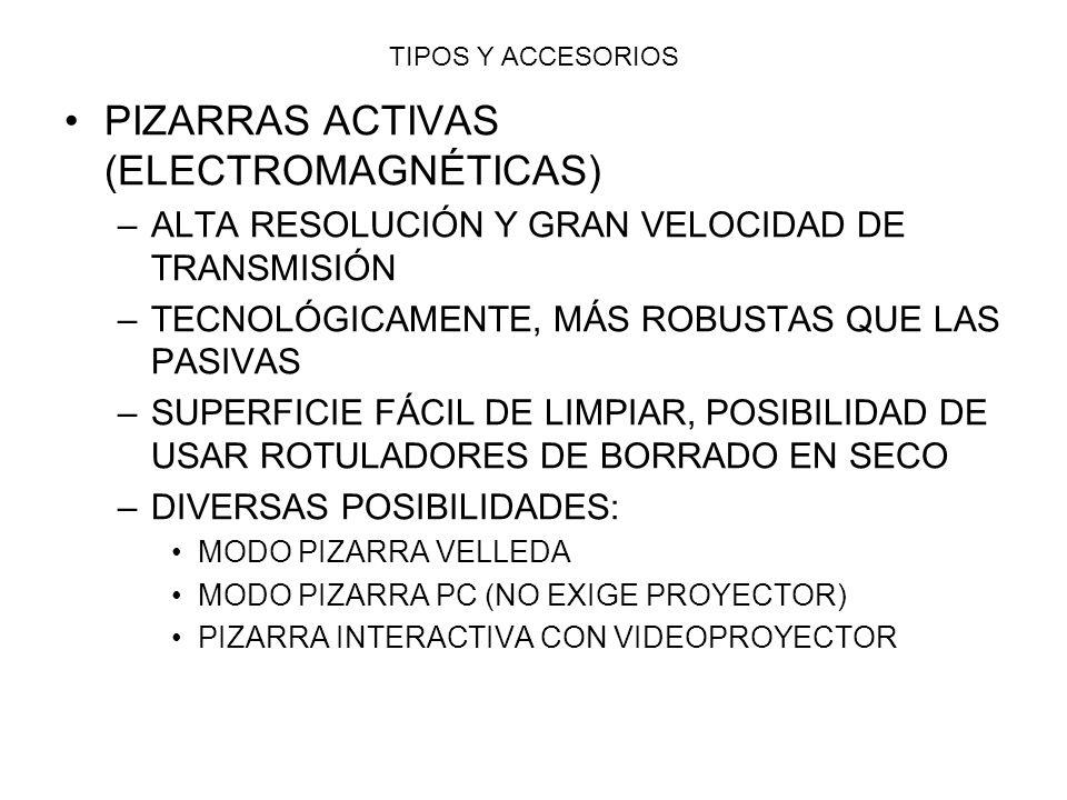TIPOS Y ACCESORIOS PIZARRAS ACTIVAS (ELECTROMAGNÉTICAS) –A–ALTA RESOLUCIÓN Y GRAN VELOCIDAD DE TRANSMISIÓN –T–TECNOLÓGICAMENTE, MÁS ROBUSTAS QUE LAS P
