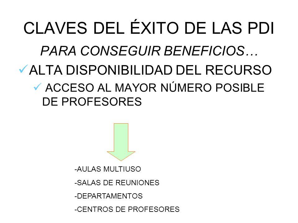 CLAVES DEL ÉXITO DE LAS PDI PARA CONSEGUIR BENEFICIOS… ALTA DISPONIBILIDAD DEL RECURSO ACCESO AL MAYOR NÚMERO POSIBLE DE PROFESORES -AULAS MULTIUSO -S