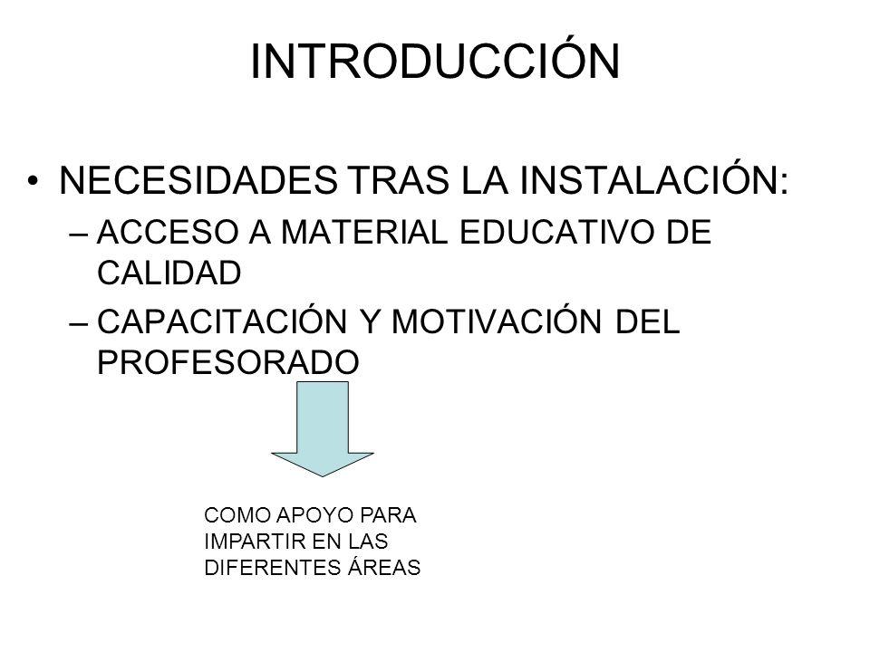 INTRODUCCIÓN NECESIDADES TRAS LA INSTALACIÓN: –ACCESO A MATERIAL EDUCATIVO DE CALIDAD –CAPACITACIÓN Y MOTIVACIÓN DEL PROFESORADO COMO APOYO PARA IMPAR