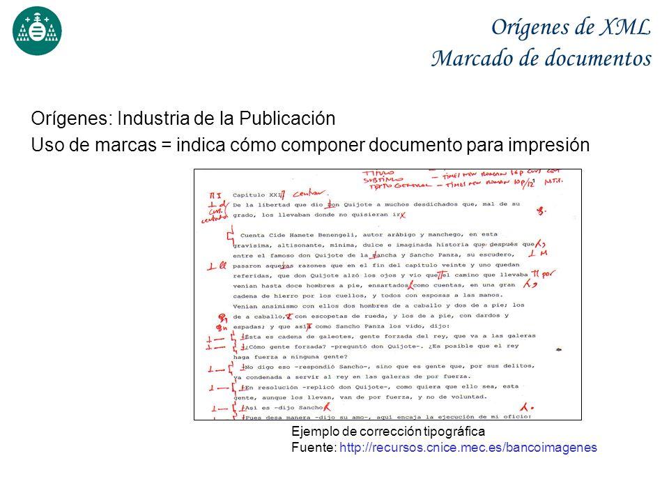 Orígenes de XML Marcado de documentos Orígenes: Industria de la Publicación Uso de marcas = indica cómo componer documento para impresión Ejemplo de c