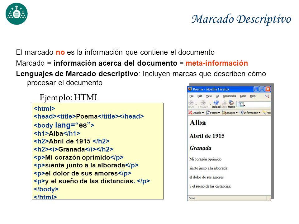 Marcado Descriptivo El marcado no es la información que contiene el documento Marcado = información acerca del documento = meta-información Lenguajes
