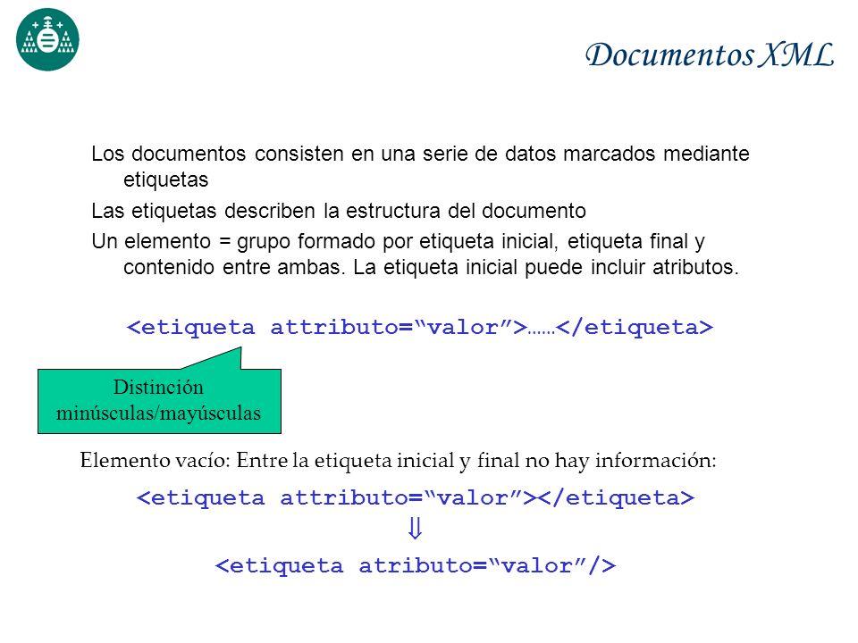 Documentos XML Los documentos consisten en una serie de datos marcados mediante etiquetas Las etiquetas describen la estructura del documento Un eleme