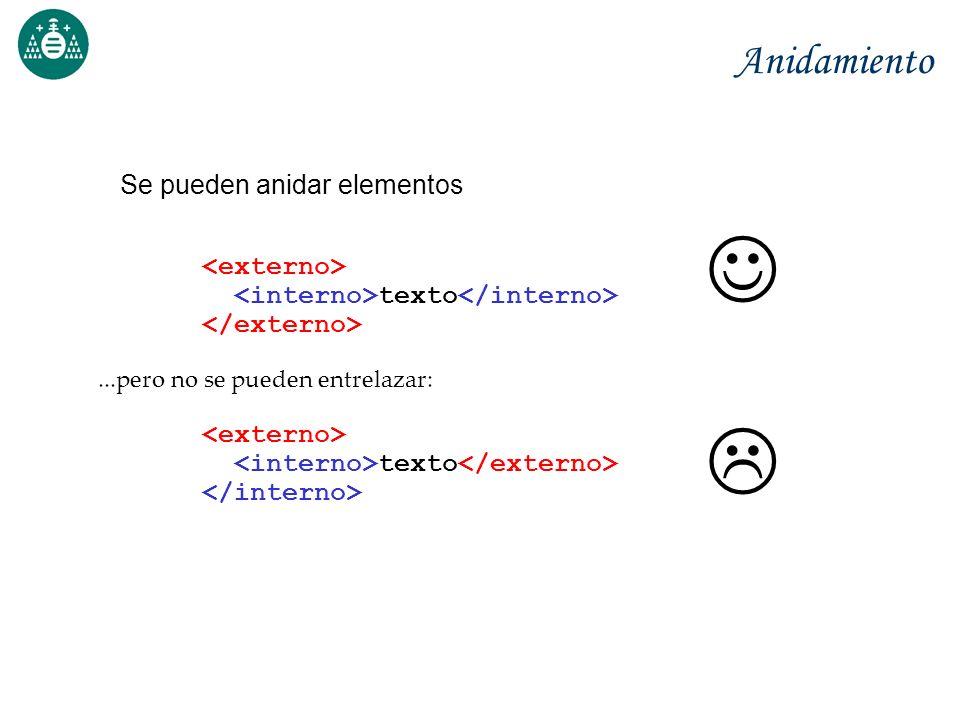 Anidamiento Se pueden anidar elementos texto...pero no se pueden entrelazar: