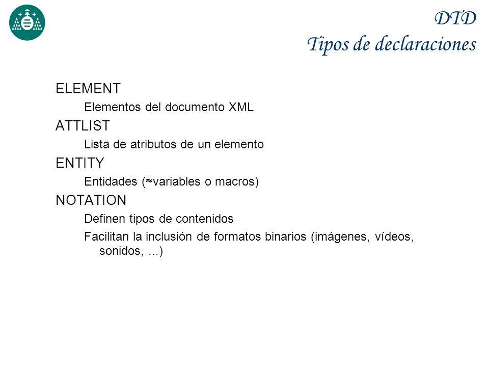 DTD Tipos de declaraciones ELEMENT Elementos del documento XML ATTLIST Lista de atributos de un elemento ENTITY Entidades ( variables o macros) NOTATI