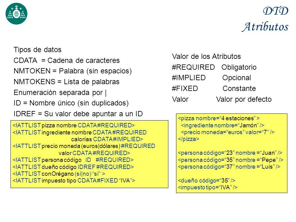 DTD Atributos Valor de los Atributos #REQUIRED Obligatorio #IMPLIED Opcional #FIXED Constante Valor Valor por defecto <!ATTLIST ingrediente nombre CDATA #REQUIRED calorías CDATA #IMPLIED> <!ATTLIST precio moneda (euros dólares) #REQUIRED valor CDATA #REQUIRED> Tipos de datos CDATA = Cadena de caracteres NMTOKEN = Palabra (sin espacios) NMTOKENS = Lista de palabras Enumeración separada por   ID = Nombre único (sin duplicados) IDREF = Su valor debe apuntar a un ID