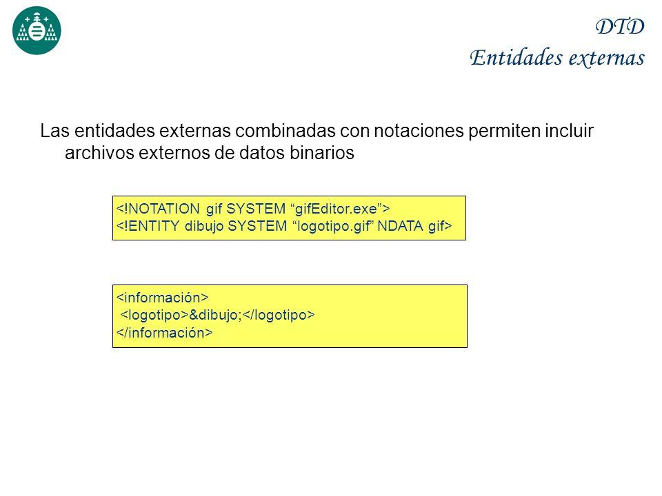 DTD Entidades externas Las entidades externas combinadas con notaciones permiten incluir archivos externos de datos binarios &dibujo;