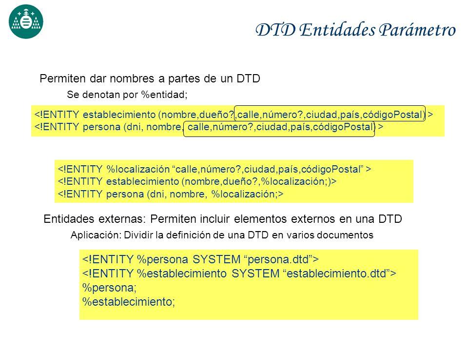 DTD Entidades Parámetro Permiten dar nombres a partes de un DTD Se denotan por %entidad; Entidades externas: Permiten incluir elementos externos en un