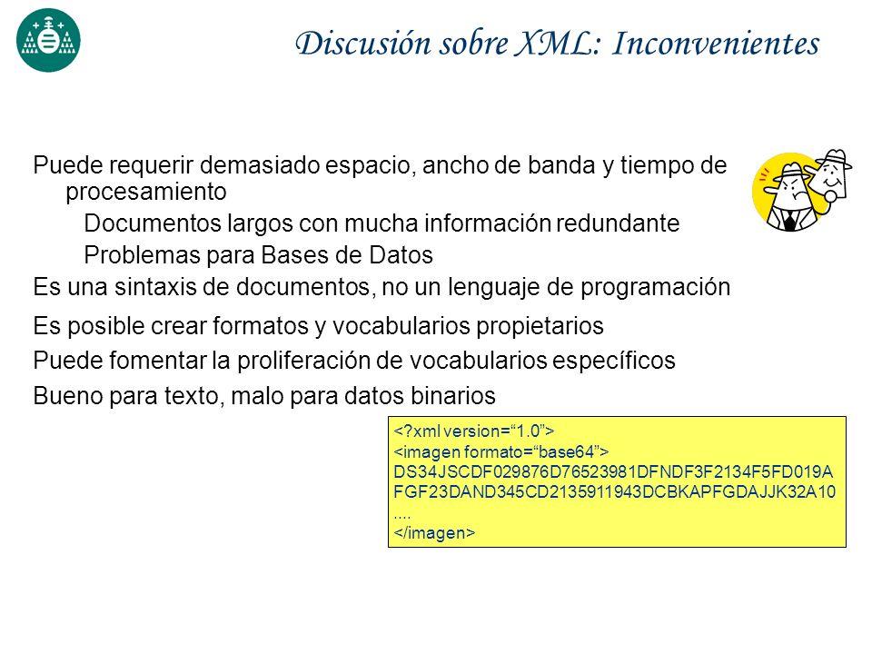 Discusión sobre XML: Inconvenientes Puede requerir demasiado espacio, ancho de banda y tiempo de procesamiento Documentos largos con mucha información