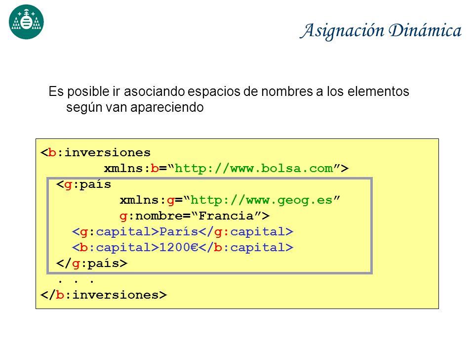 Asignación Dinámica Es posible ir asociando espacios de nombres a los elementos según van apareciendo <b:inversiones xmlns:b=http://www.bolsa.com> <g: